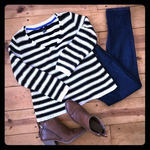H&M black and white striped sweater size small